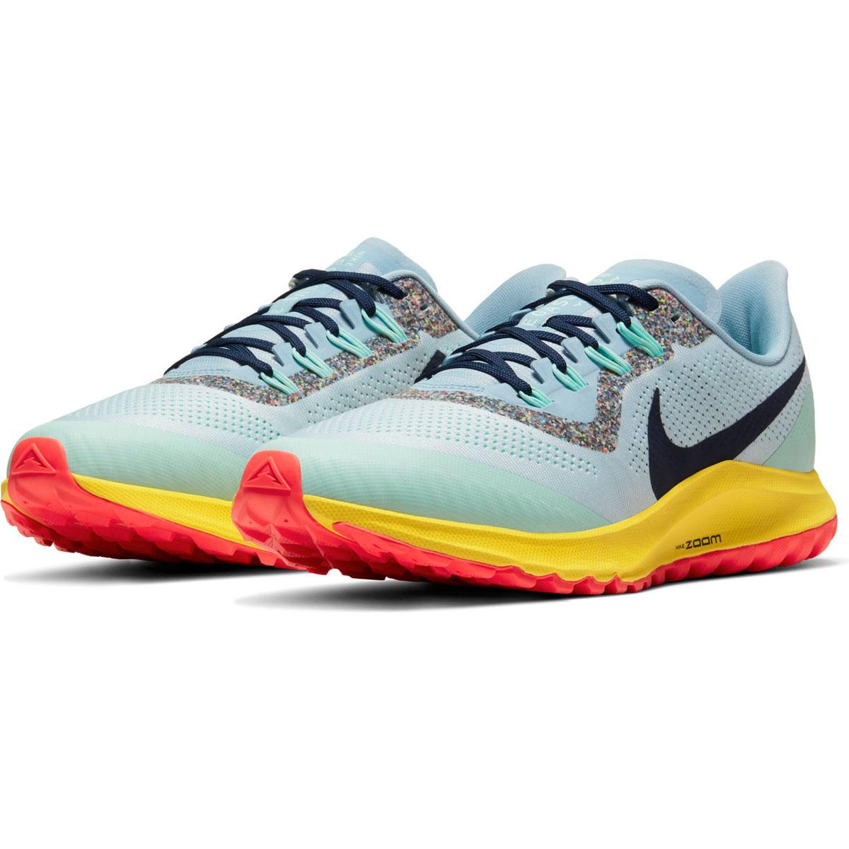 Men's Nike Air Zoom Pegasus 36 Trail Running Shoe - Color: Aura/Blackened Blue/Light Armory (Regular Width) - Size: 6, Aura/Blackened Blue/Light Armory, large, image 4