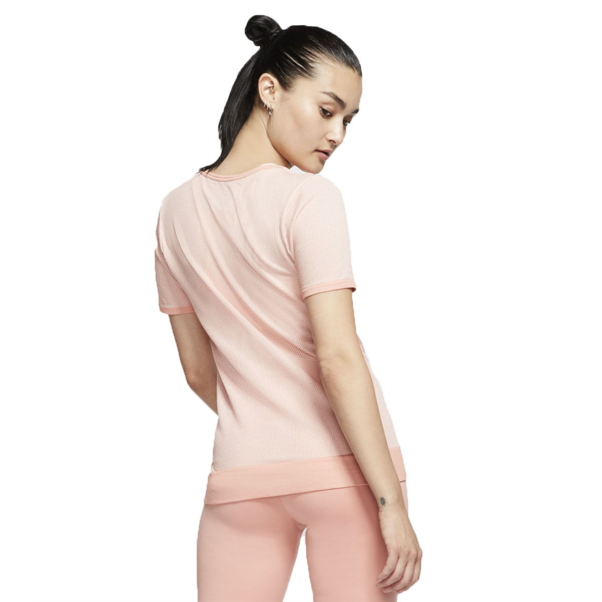 Women's Nike Infinite Top Short Sleeve  - Color: Pink Quartz/Echo Pink - Size: XS, Pink Quartz/Echo Pink, large, image 3