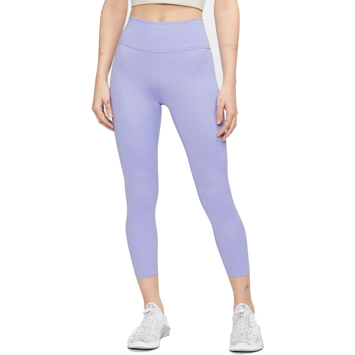 Women's Nike One Luxe Cropped Tights - Color: Light Thistle/Clear - Size: XS, Light Thistle/Clear, large, image 1