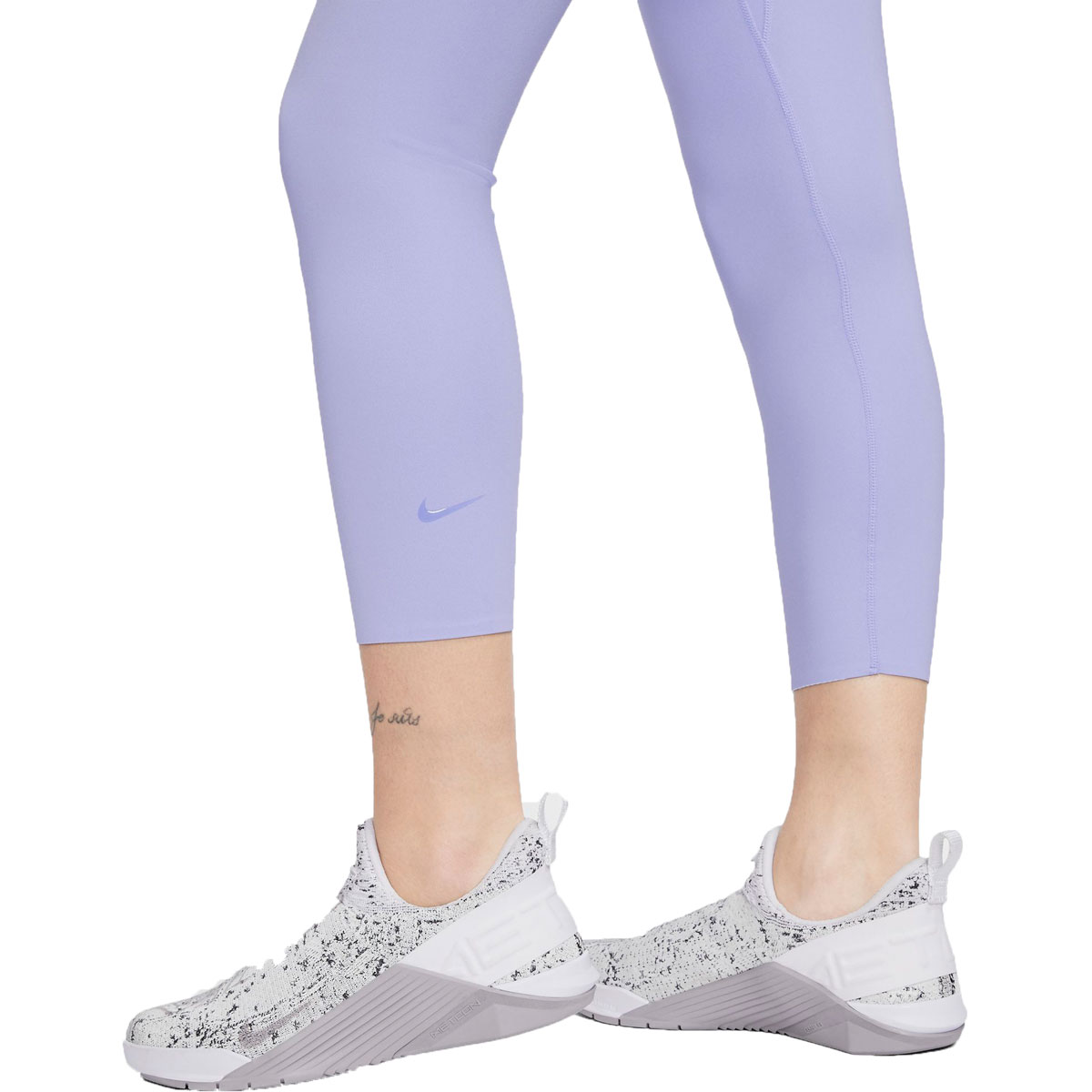Women's Nike One Luxe Cropped Tights - Color: Light Thistle/Clear - Size: XS, Light Thistle/Clear, large, image 3