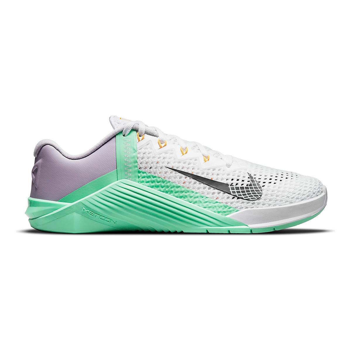 Women's Nike Metcon 6 Training Shoe - Color: White/Smoke Grey/Infinite Lilac - Size: 5 - Width: Regular, White/Smoke Grey/Infinite Lilac, large, image 1