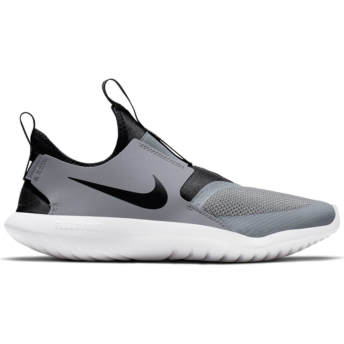 Kids Nike Grade School Flex Runner Shoe - Color: Cool Grey/Black (Regular Width) - Size: 3.5, Cool Grey/Black, large, image 1