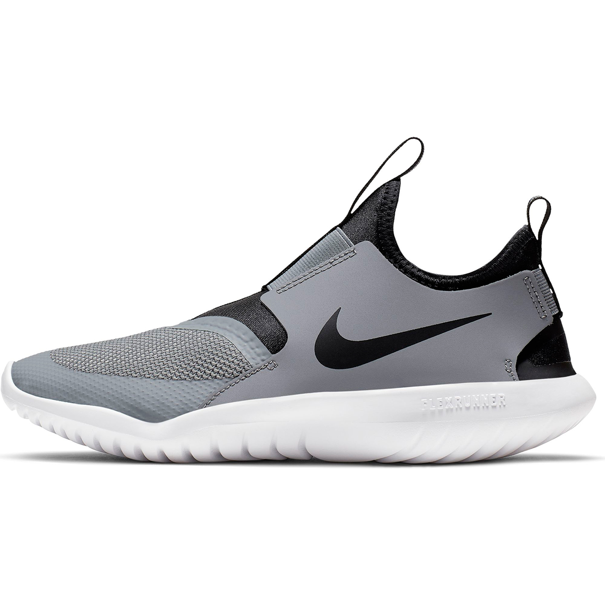 Kids Nike Grade School Flex Runner Shoe - Color: Cool Grey/Black (Regular Width) - Size: 3.5, Cool Grey/Black, large, image 2