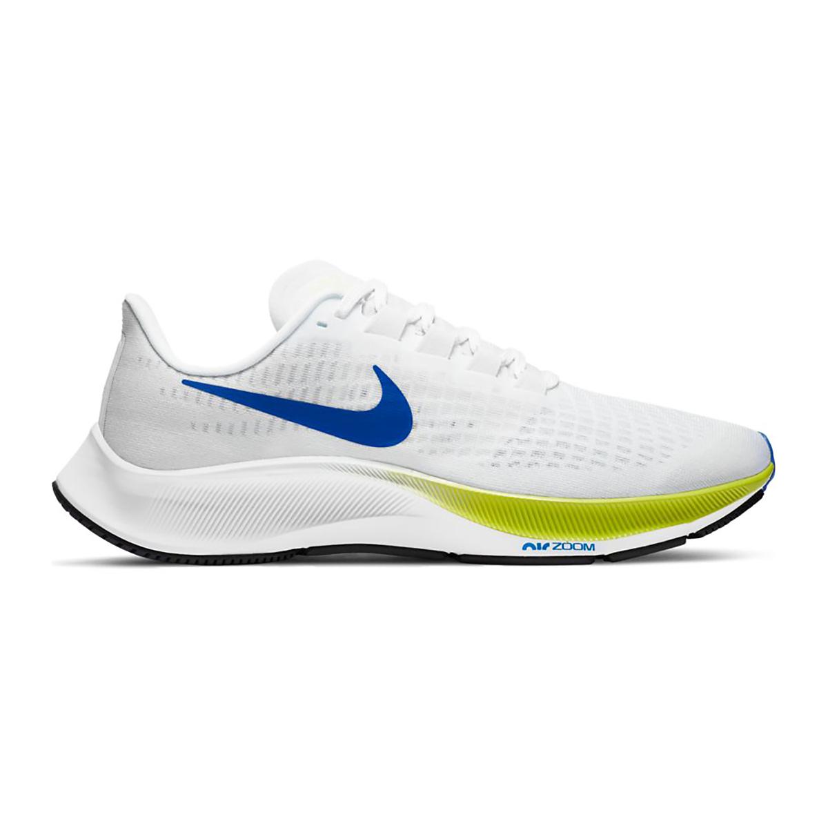 Men's Nike Air Zoom Pegasus 37 Running Shoe - Color: White/Racer Blue/Cyber/Black - Size: 6 - Width: Regular, White/Racer Blue/Cyber/Black, large, image 1