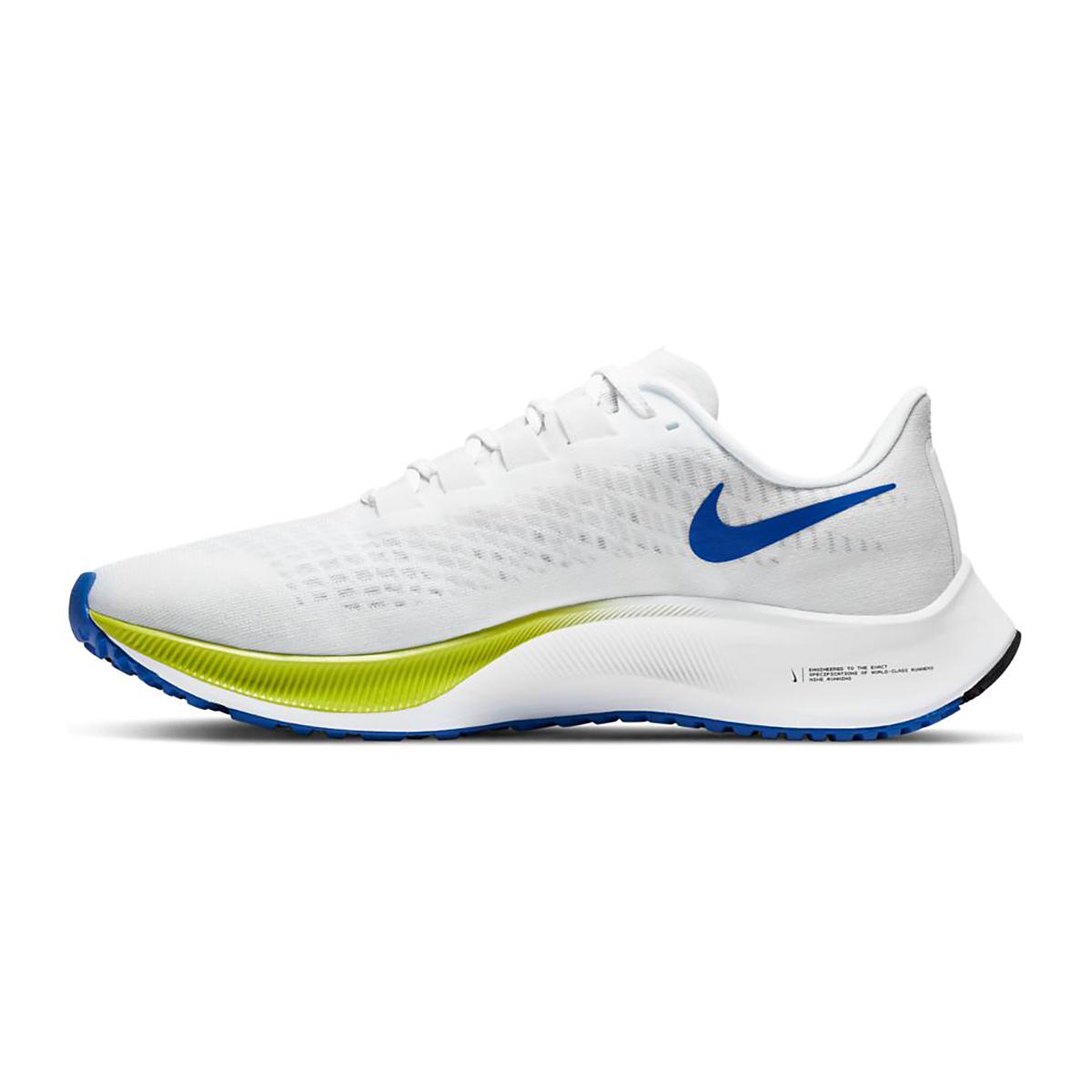Men's Nike Air Zoom Pegasus 37 Running Shoe - Color: White/Racer Blue/Cyber/Black - Size: 6 - Width: Regular, White/Racer Blue/Cyber/Black, large, image 2