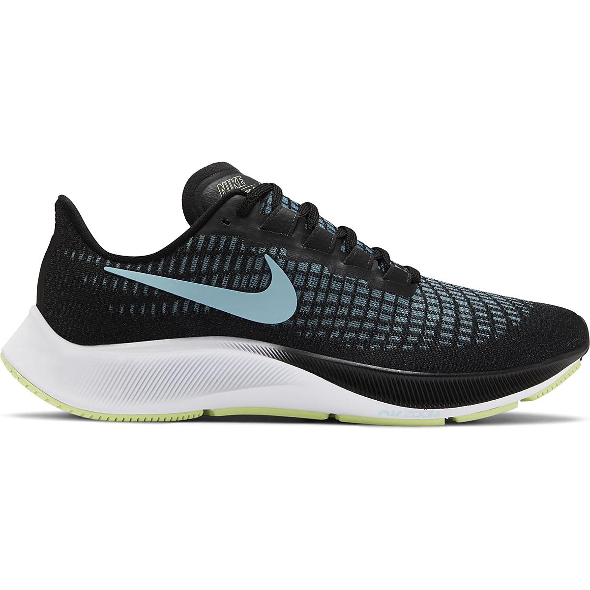 Women's Nike Air Zoom Pegasus 37 Running Shoe - Color: Black/Glacier Ice-Barely Volt-White - Size: 6 - Width: Regular, Black/Glacier Ice-Barely Volt-White, large, image 1