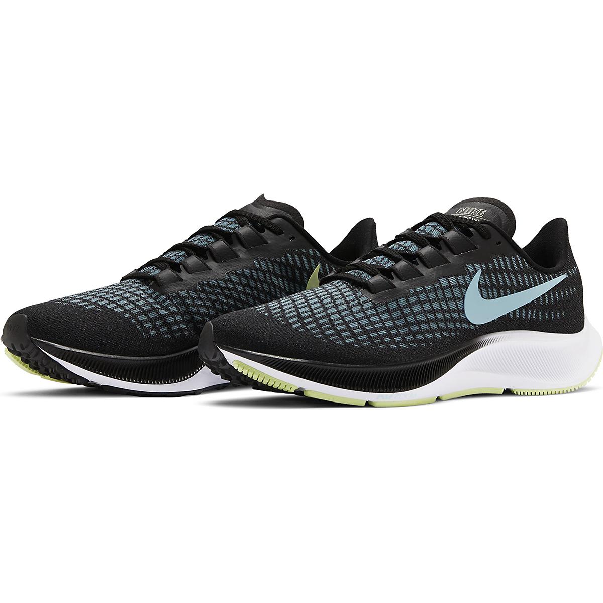 Women's Nike Air Zoom Pegasus 37 Running Shoe - Color: Black/Glacier Ice-Barely Volt-White - Size: 6 - Width: Regular, Black/Glacier Ice-Barely Volt-White, large, image 3
