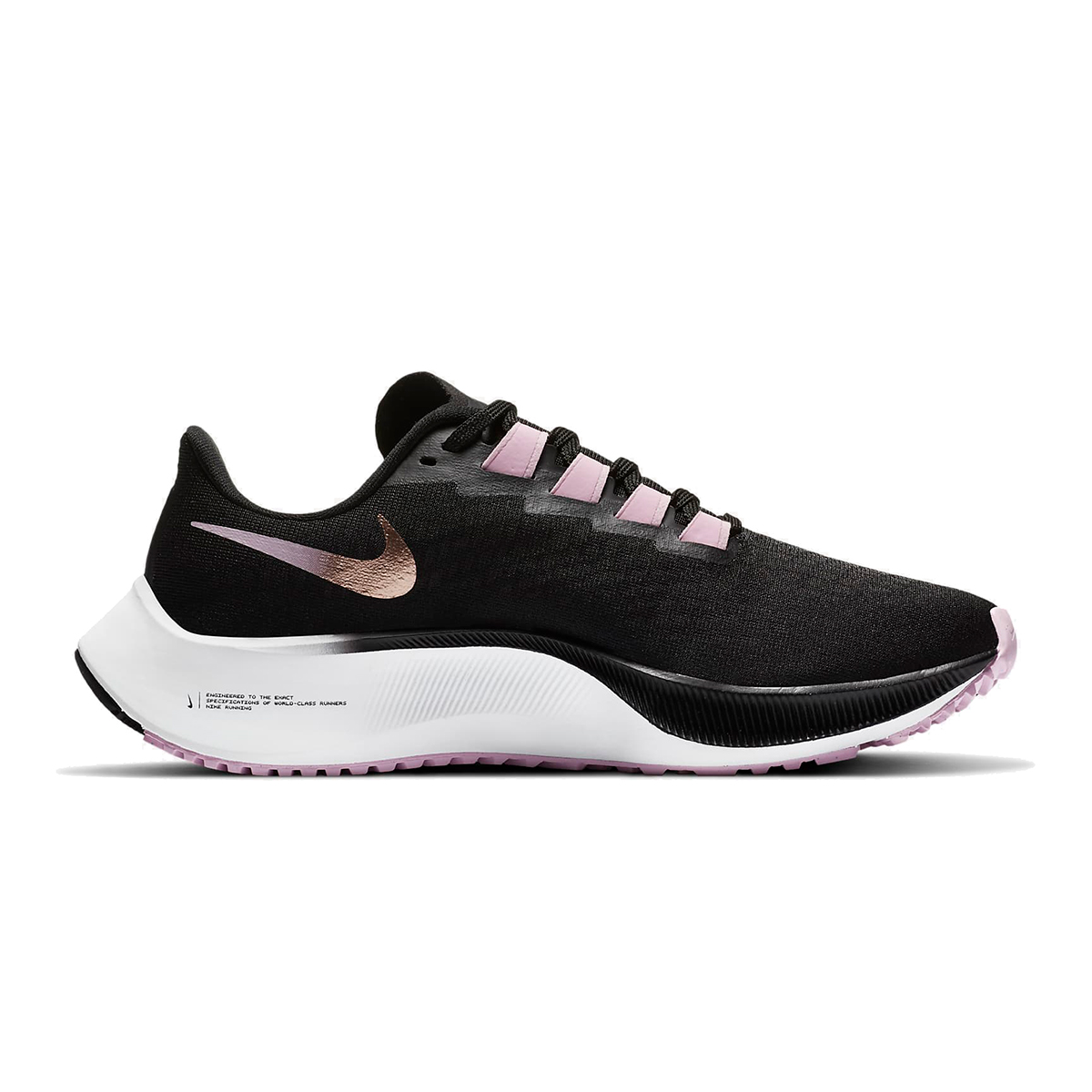 Women's Nike Air Zoom Pegasus 37 Running Shoe - Color: Black/Light Arctic Pink/White/Metallic Red Bronze - Size: 6 - Width: Regular, Black/Light Arctic Pink/White/Metallic Red Bronze, large, image 1