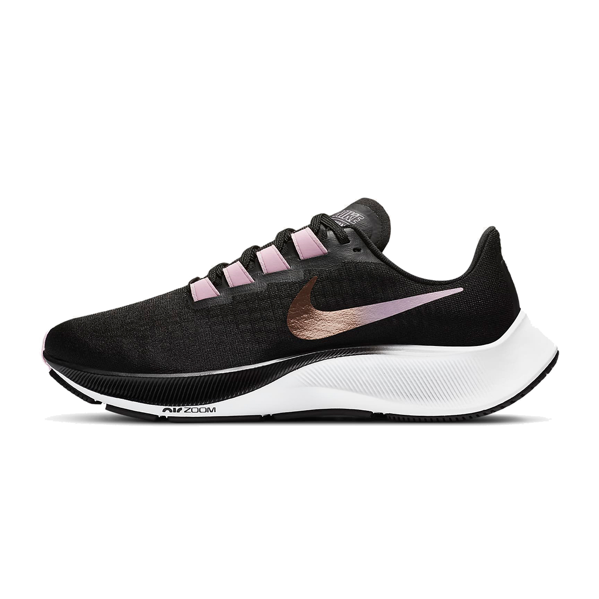 Women's Nike Air Zoom Pegasus 37 Running Shoe - Color: Black/Light Arctic Pink/White/Metallic Red Bronze - Size: 6 - Width: Regular, Black/Light Arctic Pink/White/Metallic Red Bronze, large, image 2