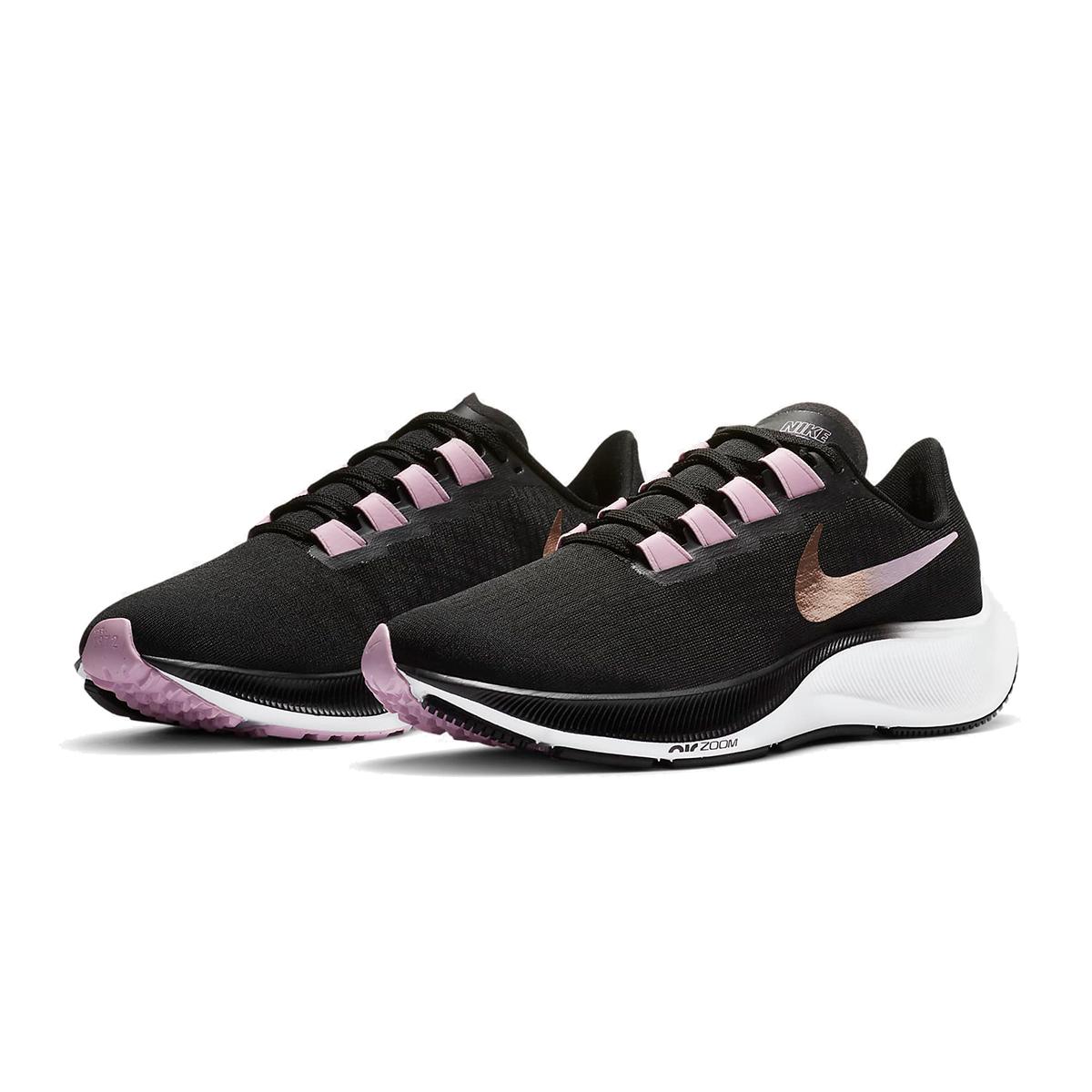 Women's Nike Air Zoom Pegasus 37 Running Shoe - Color: Black/Light Arctic Pink/White/Metallic Red Bronze - Size: 6 - Width: Regular, Black/Light Arctic Pink/White/Metallic Red Bronze, large, image 5