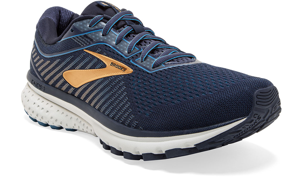 Men's Brooks Ghost 12 Running Shoe - Color: Navy/Deep Water/Gold (Regular Width) - Size: 9, Navy/Gold, large, image 4