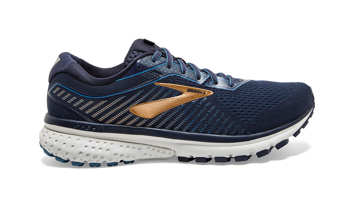 Men's Brooks Ghost 12 Running Shoe - Color: Navy/Deep Water/Gold (Regular Width) - Size: 9, Navy/Gold, large, image 1