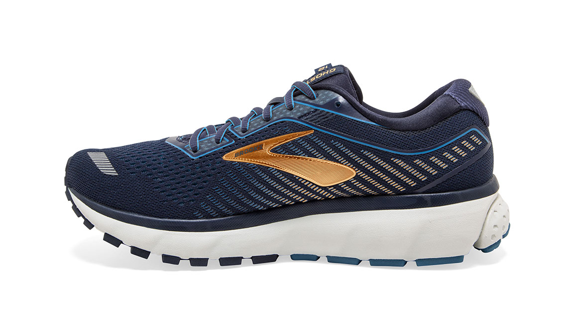 Men's Brooks Ghost 12 Running Shoe - Color: Navy/Deep Water/Gold (Regular Width) - Size: 9, Navy/Gold, large, image 3