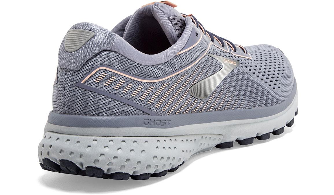 Women's Brooks Ghost 12 Running Shoe - Color: Granite/Peacoat/Peach (Regular Width) - Size: 6.5, Grey/Pink, large, image 2