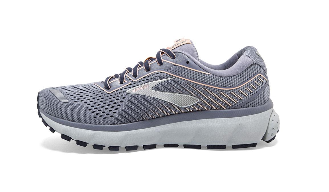 Women's Brooks Ghost 12 Running Shoe - Color: Granite/Peacoat/Peach (Regular Width) - Size: 6.5, Grey/Pink, large, image 3