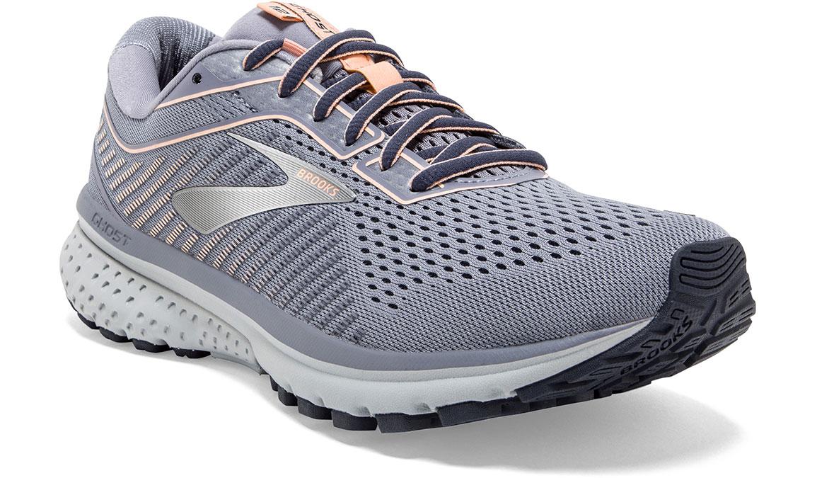 Women's Brooks Ghost 12 Running Shoe - Color: Granite/Peacoat/Peach (Regular Width) - Size: 6.5, Grey/Pink, large, image 4