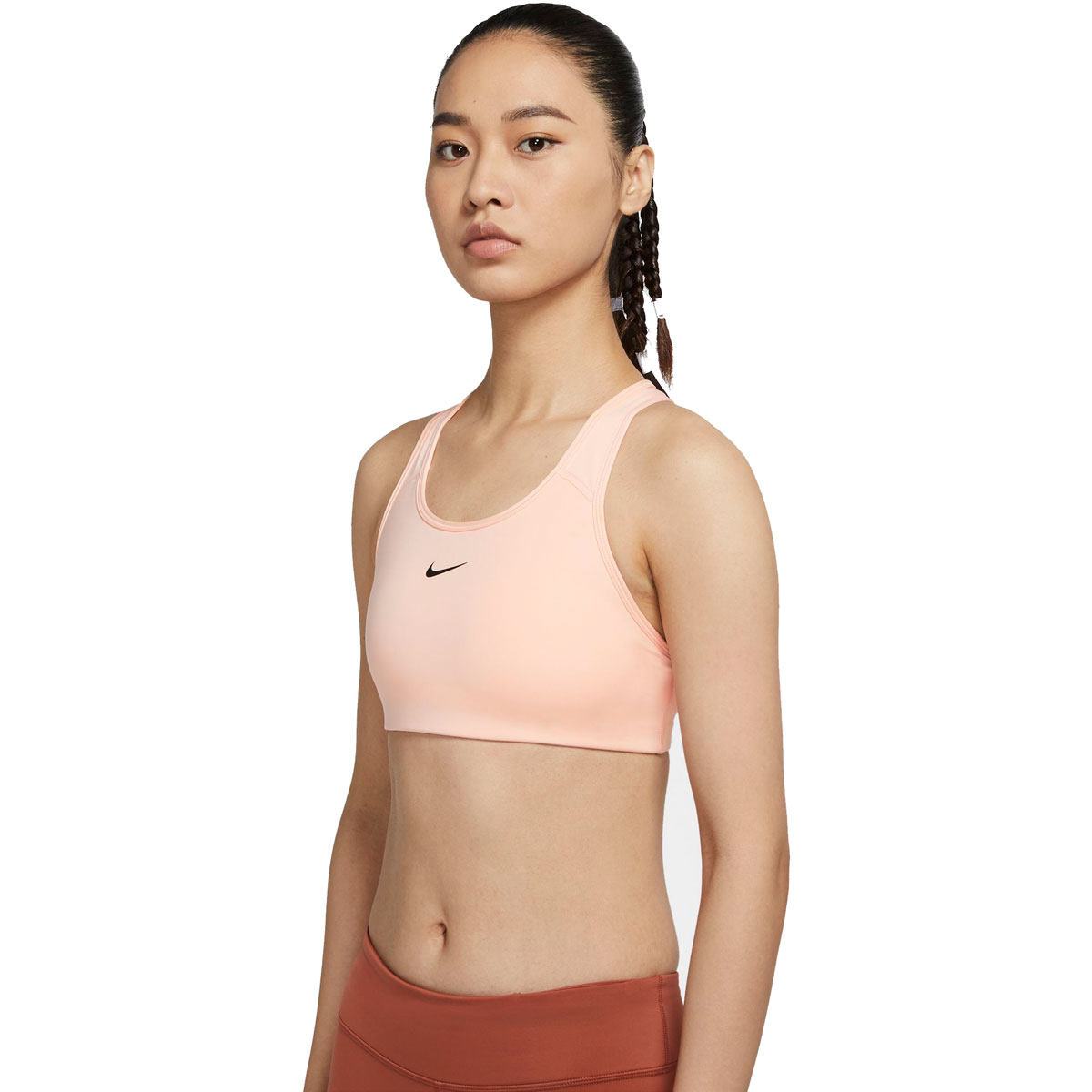 Women's Nike Swoosh Medium-Support 1-Piece Pad Sports Bra - Color: Washed Coral/Black - Size: S, Washed Coral/Black, large, image 1