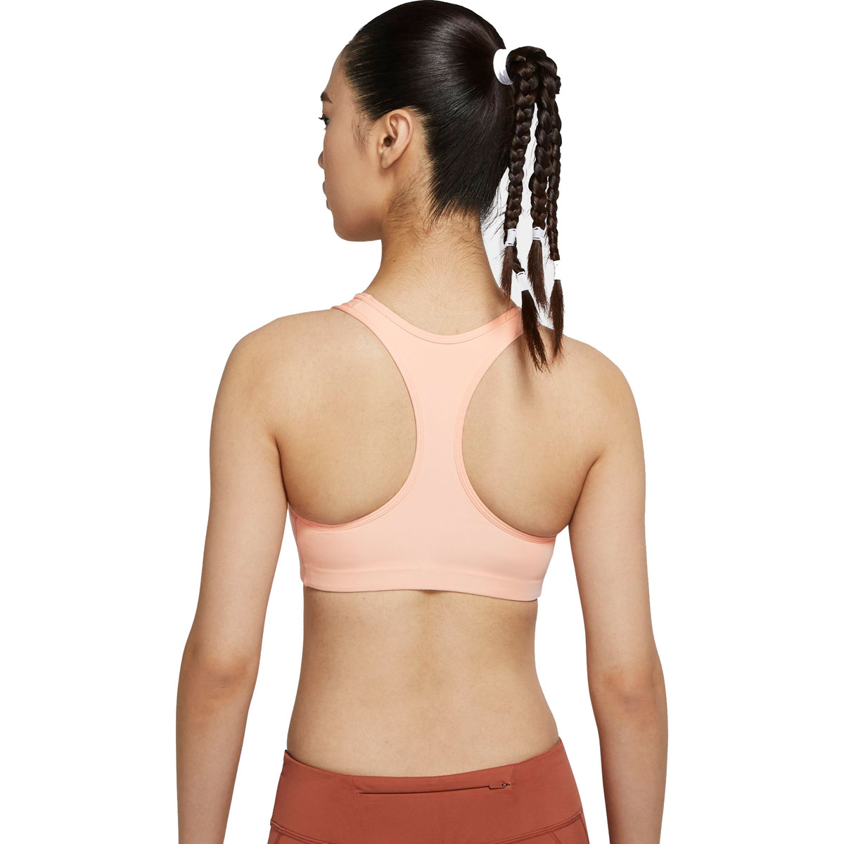Women's Nike Swoosh Medium-Support 1-Piece Pad Sports Bra - Color: Washed Coral/Black - Size: S, Washed Coral/Black, large, image 2