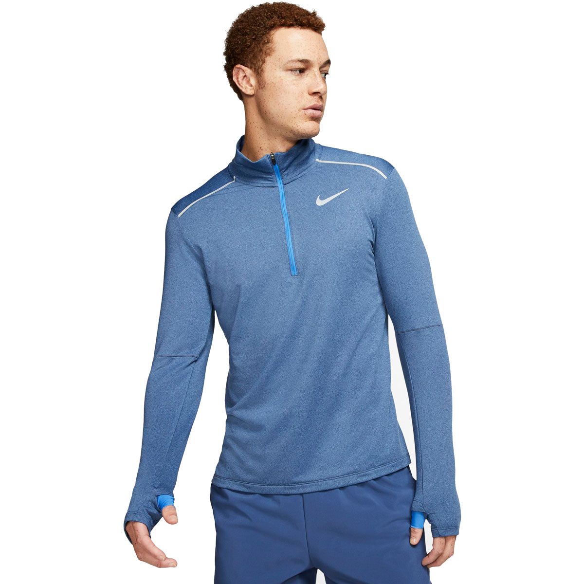 Men's Nike Element 3.0 1/2-Zip Running Top - Color: Obsidian/Htr/Reflective Silver - Size: S, Obsidian/Heather/Reflective Silver, large, image 1