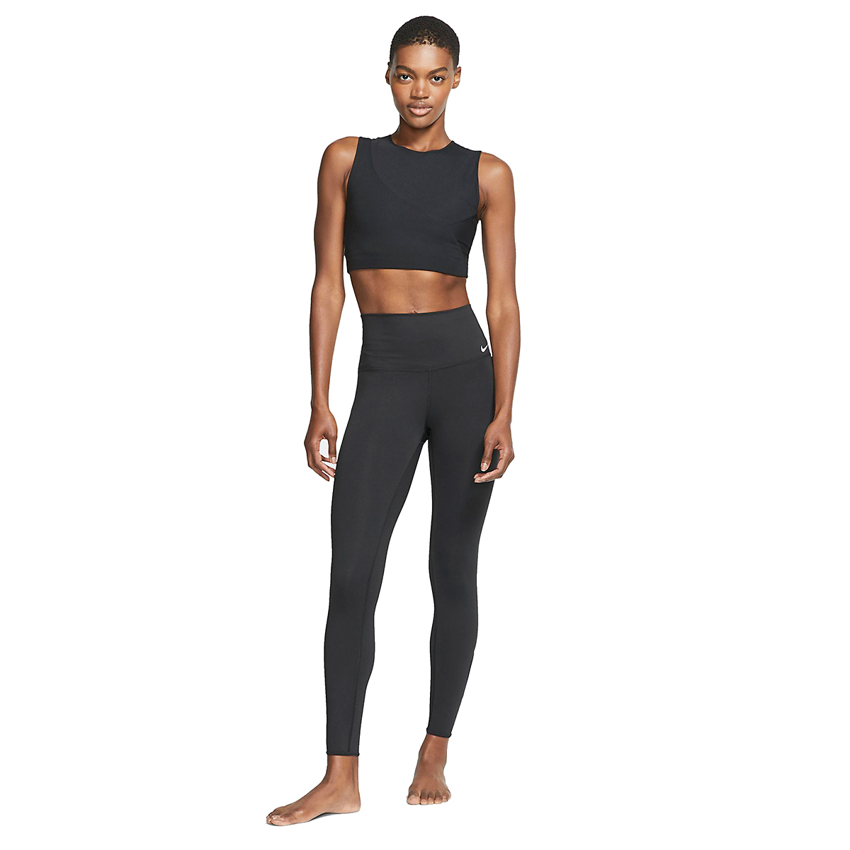 Women's Nike 7/8 Yoga Tight  - Color: Black/White - Size: XL, Black/White, large, image 3