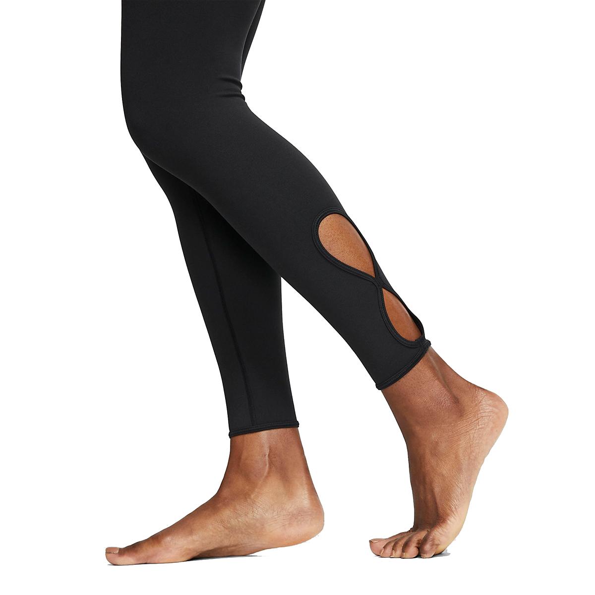 Women's Nike 7/8 Yoga Tight  - Color: Black/White - Size: XL, Black/White, large, image 4