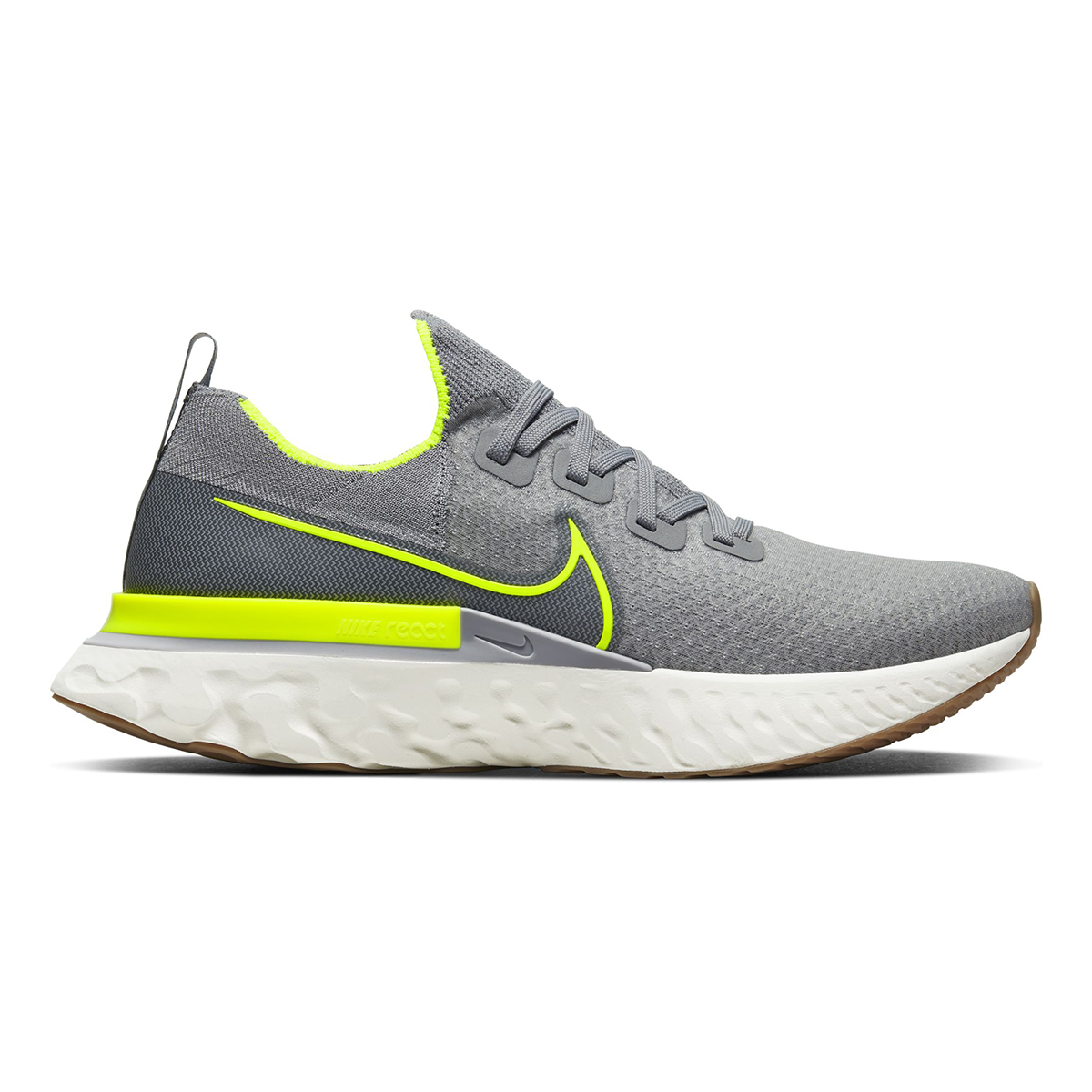 Men's Nike React Infinity Run Flyknit Running Shoe - Color: Particle Grey/Wolf Grey/Sail/Volt (Regular Width) - Size: 6, Particle Grey/Wolf Grey/Sail/Volt, large, image 1