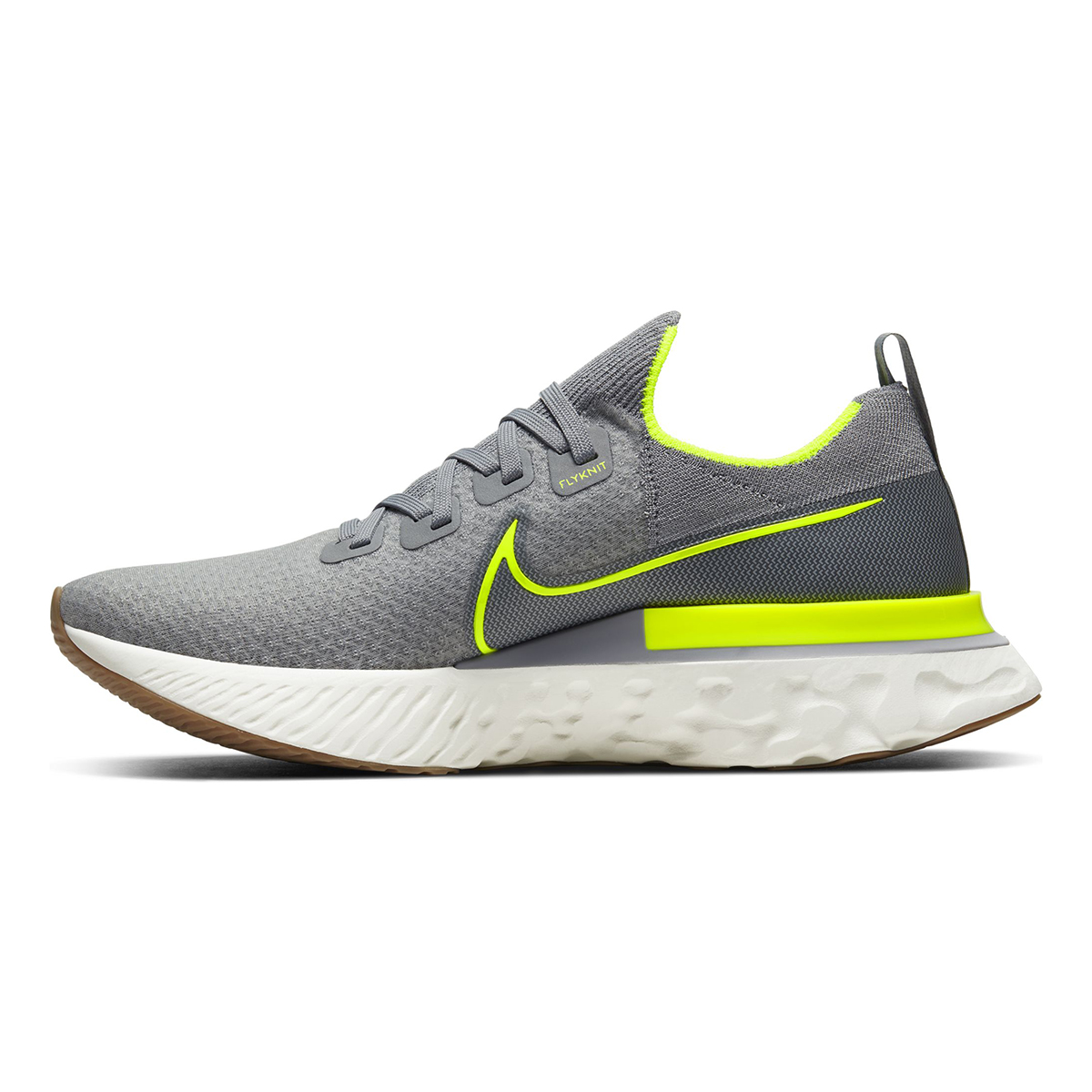 Men's Nike React Infinity Run Flyknit Running Shoe - Color: Particle Grey/Wolf Grey/Sail/Volt (Regular Width) - Size: 6, Particle Grey/Wolf Grey/Sail/Volt, large, image 2