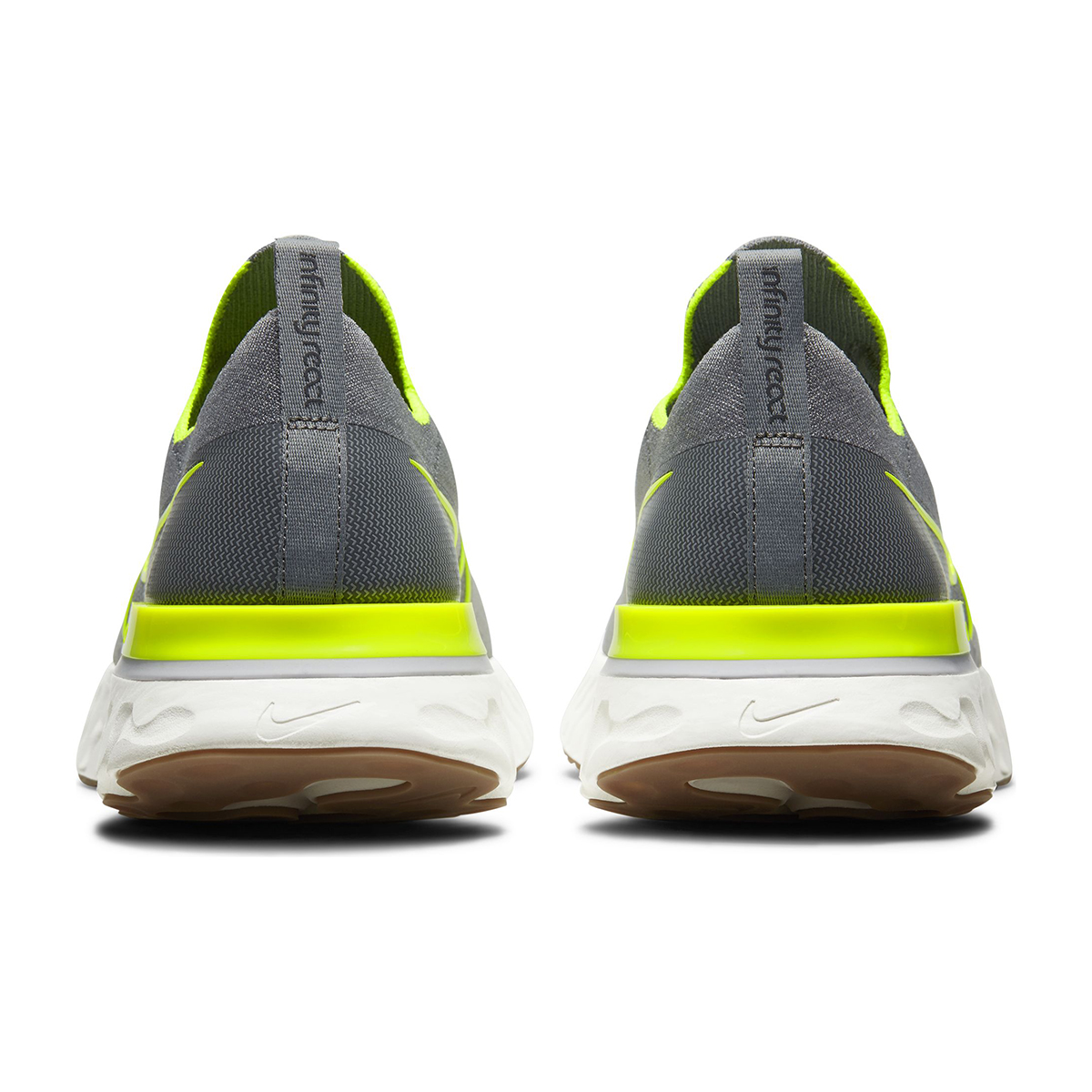 Men's Nike React Infinity Run Flyknit Running Shoe - Color: Particle Grey/Wolf Grey/Sail/Volt (Regular Width) - Size: 6, Particle Grey/Wolf Grey/Sail/Volt, large, image 3