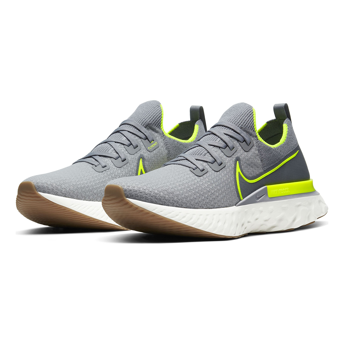 Men's Nike React Infinity Run Flyknit Running Shoe - Color: Particle Grey/Wolf Grey/Sail/Volt (Regular Width) - Size: 6, Particle Grey/Wolf Grey/Sail/Volt, large, image 4