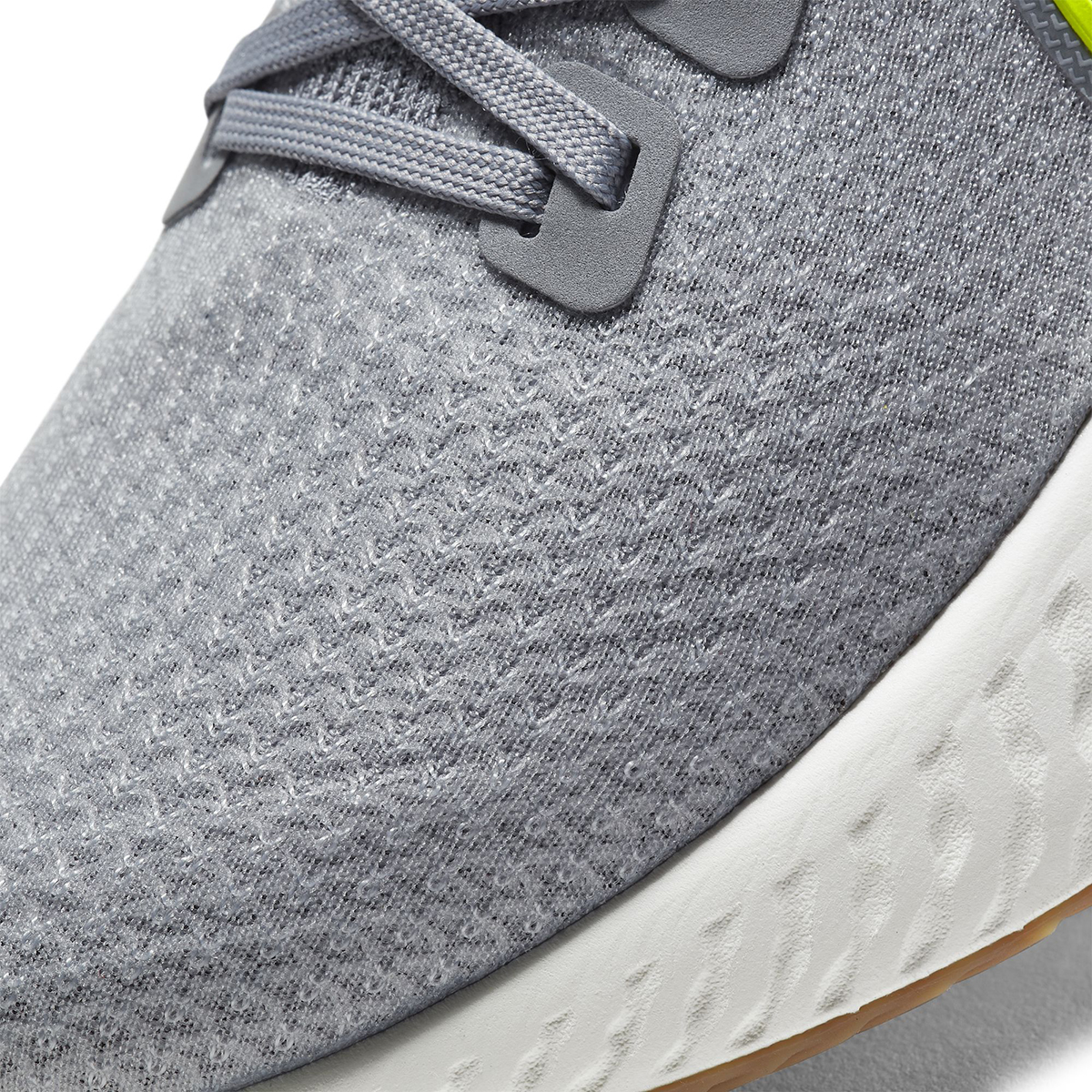 Men's Nike React Infinity Run Flyknit Running Shoe - Color: Particle Grey/Wolf Grey/Sail/Volt (Regular Width) - Size: 6, Particle Grey/Wolf Grey/Sail/Volt, large, image 7