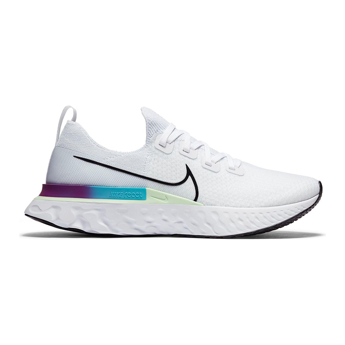 Men's Nike React Infinity Run Flyknit Running Shoes - Color: White/Vapor Green/Oracle Aqua/Black - Size: 6 - Width: Regular, White/Vapor Green/Oracle Aqua/Black, large, image 1