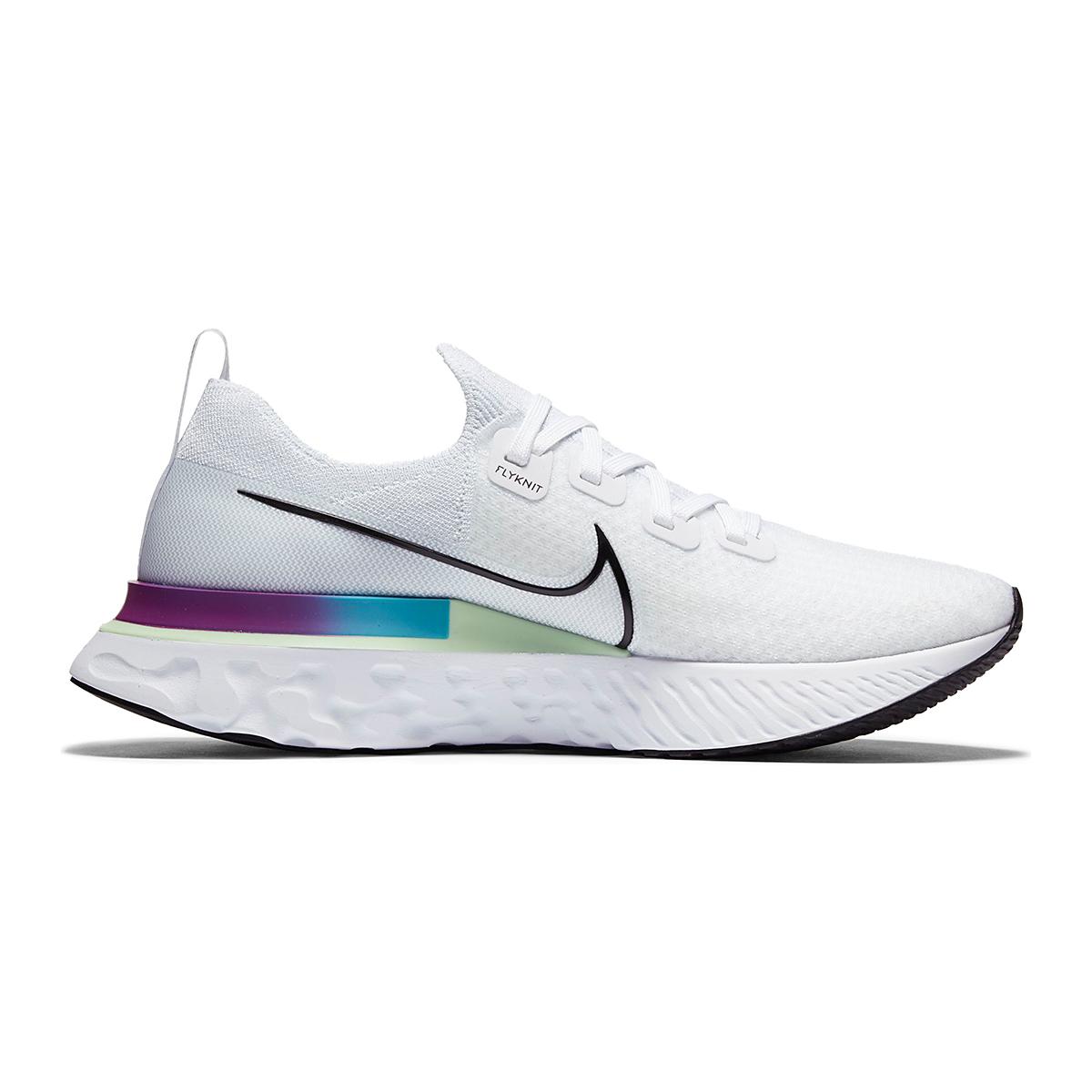 Men's Nike React Infinity Run Flyknit Running Shoes - Color: White/Vapor Green/Oracle Aqua/Black - Size: 6 - Width: Regular, White/Vapor Green/Oracle Aqua/Black, large, image 2