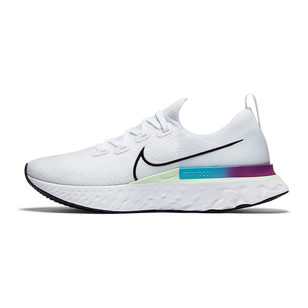 Men's Nike React Infinity Run Flyknit Running Shoes - Color: White/Vapor Green/Oracle Aqua/Black - Size: 6 - Width: Regular, White/Vapor Green/Oracle Aqua/Black, large, image 3