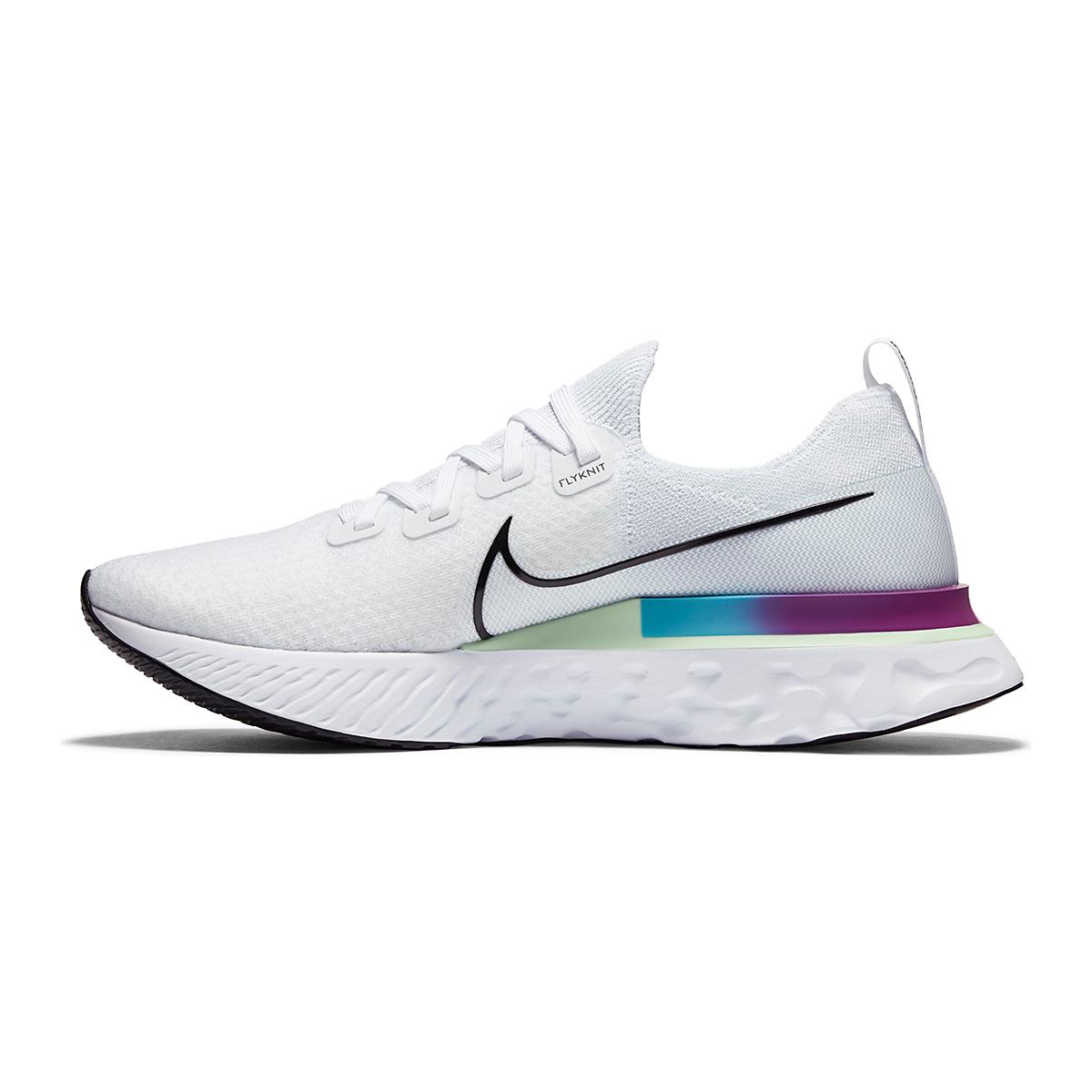 Men's Nike React Infinity Run Flyknit Running Shoes - Color: White/Vapor Green/Oracle Aqua/Black - Size: 6 - Width: Regular, White/Vapor Green/Oracle Aqua/Black, large, image 4