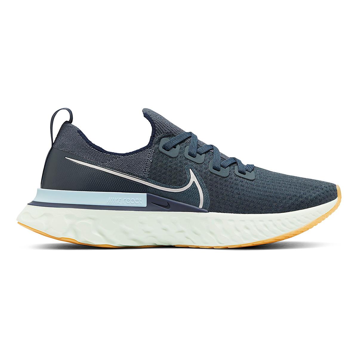 Men's Nike React Infinity Run Flyknit Running Shoe - Color: Blue Fox/Metallic Silver - Size: 6 - Width: Regular, Blue Fox/Metallic Silver, large, image 1