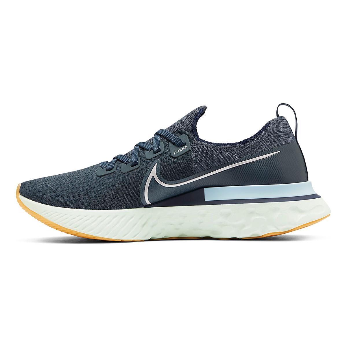 Men's Nike React Infinity Run Flyknit Running Shoe - Color: Blue Fox/Metallic Silver - Size: 6 - Width: Regular, Blue Fox/Metallic Silver, large, image 2