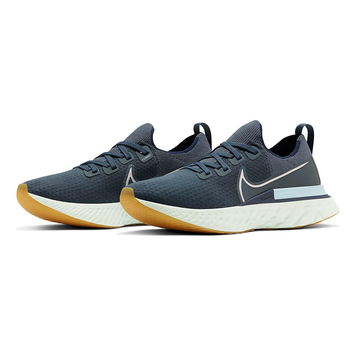Men's Nike React Infinity Run Flyknit Running Shoe - Color: Blue Fox/Metallic Silver - Size: 6 - Width: Regular, Blue Fox/Metallic Silver, large, image 3