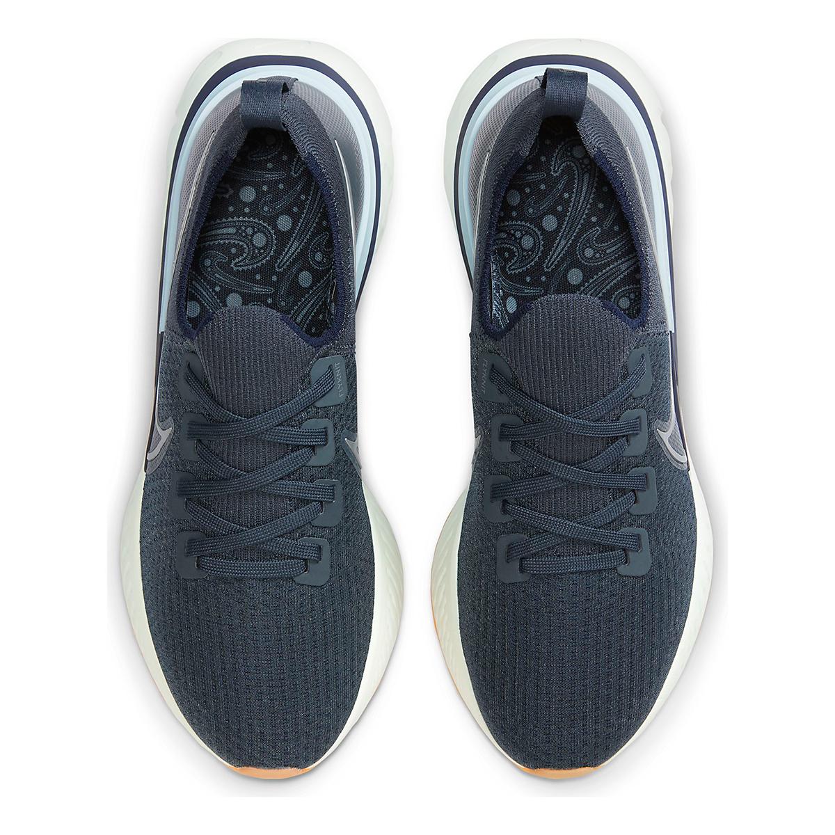 Men's Nike React Infinity Run Flyknit Running Shoe - Color: Blue Fox/Metallic Silver - Size: 6 - Width: Regular, Blue Fox/Metallic Silver, large, image 4