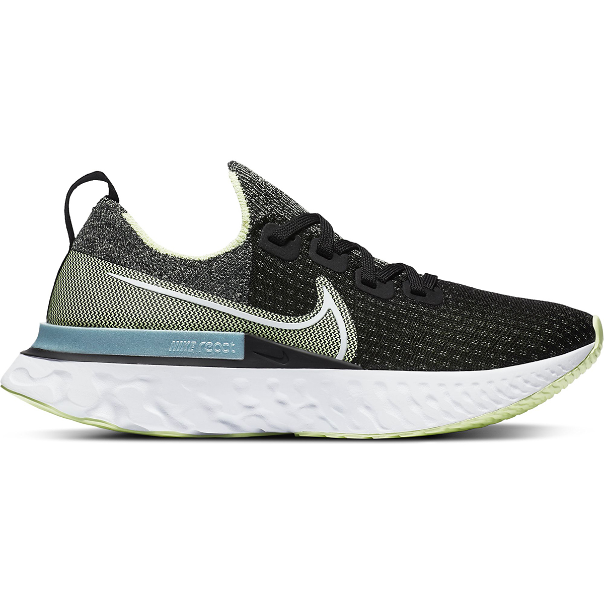 Women's Nike Nike React Infinity Run Flyknit Running Shoe - Color: Black/White-Barely Volt-Glacier Ice - Size: 5 - Width: Regular, Black/White-Barely Volt-Glacier Ice, large, image 1