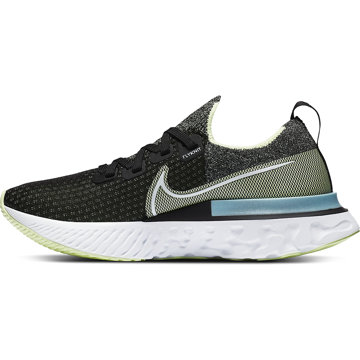 Women's Nike Nike React Infinity Run Flyknit Running Shoe - Color: Black/White-Barely Volt-Glacier Ice - Size: 5 - Width: Regular, Black/White-Barely Volt-Glacier Ice, large, image 2