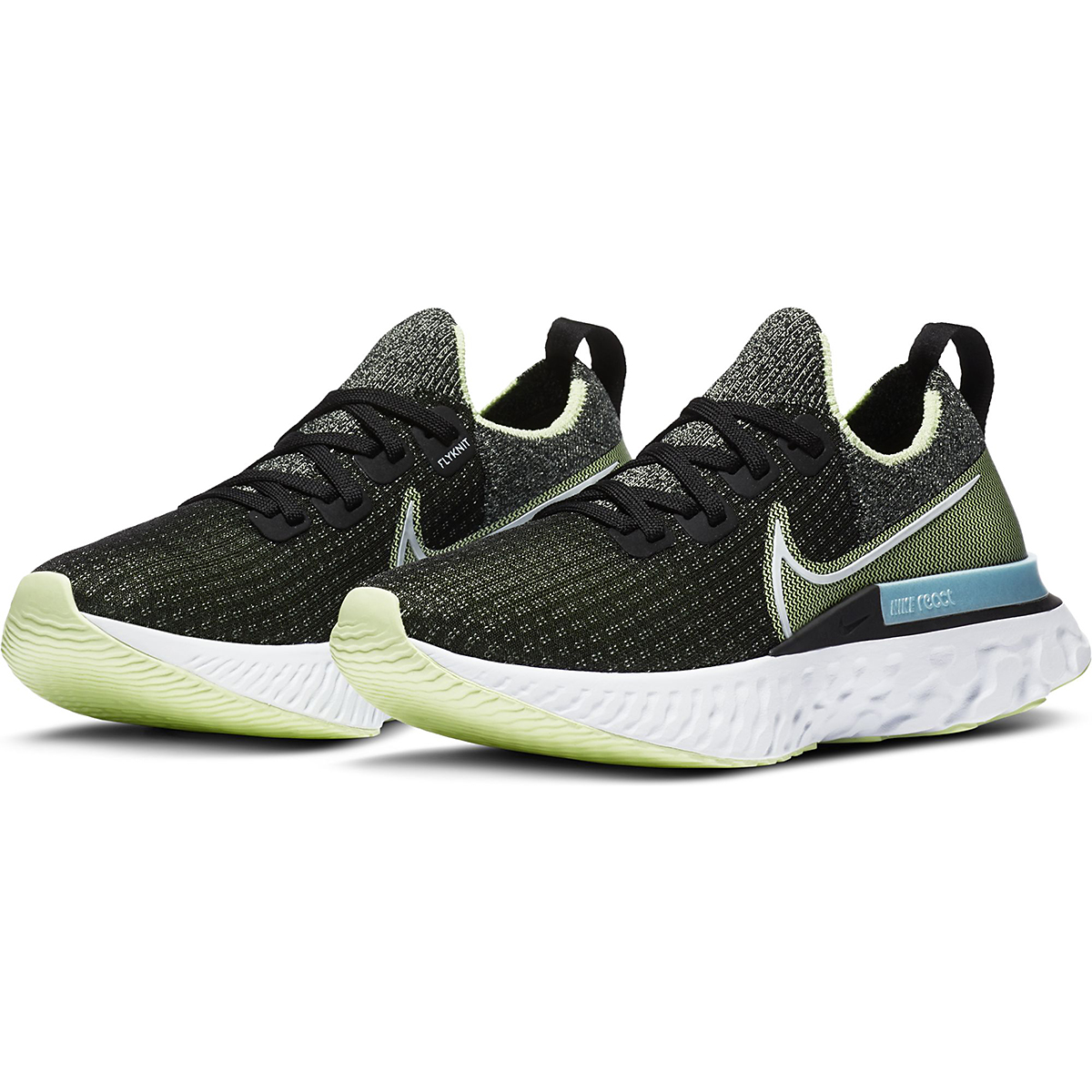 Women's Nike Nike React Infinity Run Flyknit Running Shoe - Color: Black/White-Barely Volt-Glacier Ice - Size: 5 - Width: Regular, Black/White-Barely Volt-Glacier Ice, large, image 3