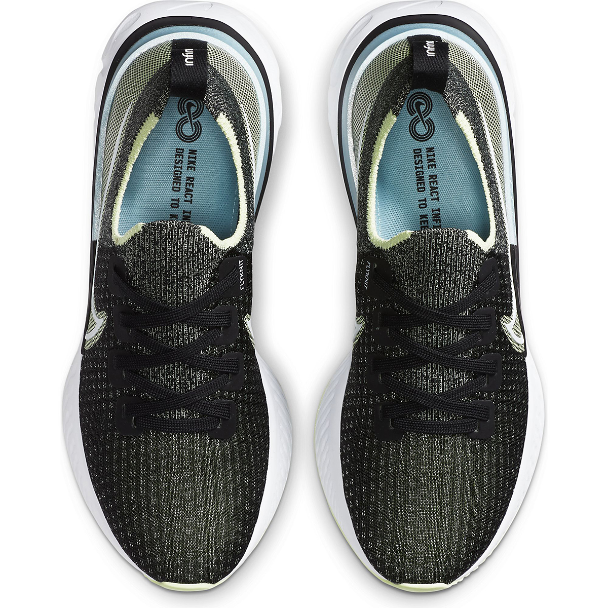 Women's Nike Nike React Infinity Run Flyknit Running Shoe - Color: Black/White-Barely Volt-Glacier Ice - Size: 5 - Width: Regular, Black/White-Barely Volt-Glacier Ice, large, image 4