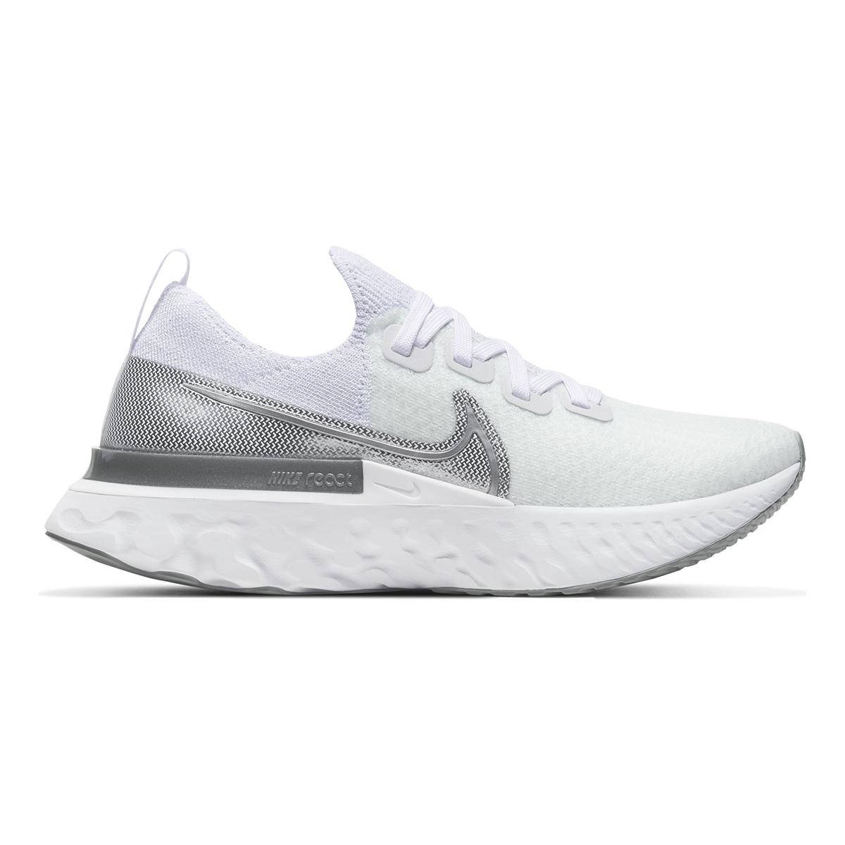 Women's Nike React Infinity Run Flyknit Running Shoe - Color: True White/White/Pure Platinum/Metallic Silver (Regular Width) - Size: 5, True White/White/Pure Platinum/Metallic Silver, large, image 1
