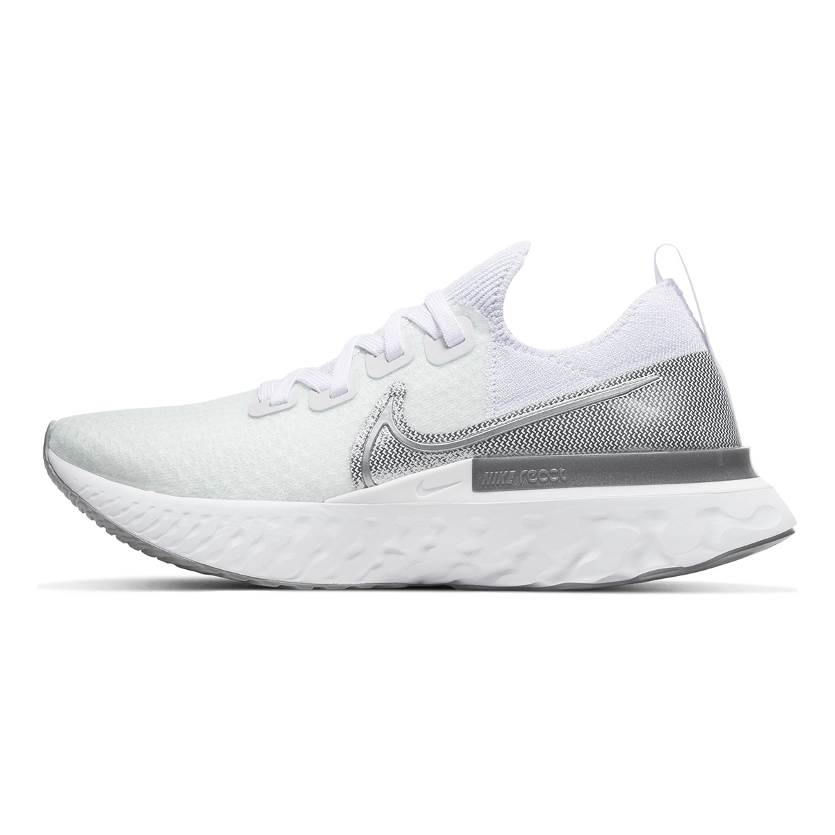 Women's Nike React Infinity Run Flyknit Running Shoe - Color: True White/White/Pure Platinum/Metallic Silver (Regular Width) - Size: 5, True White/White/Pure Platinum/Metallic Silver, large, image 2