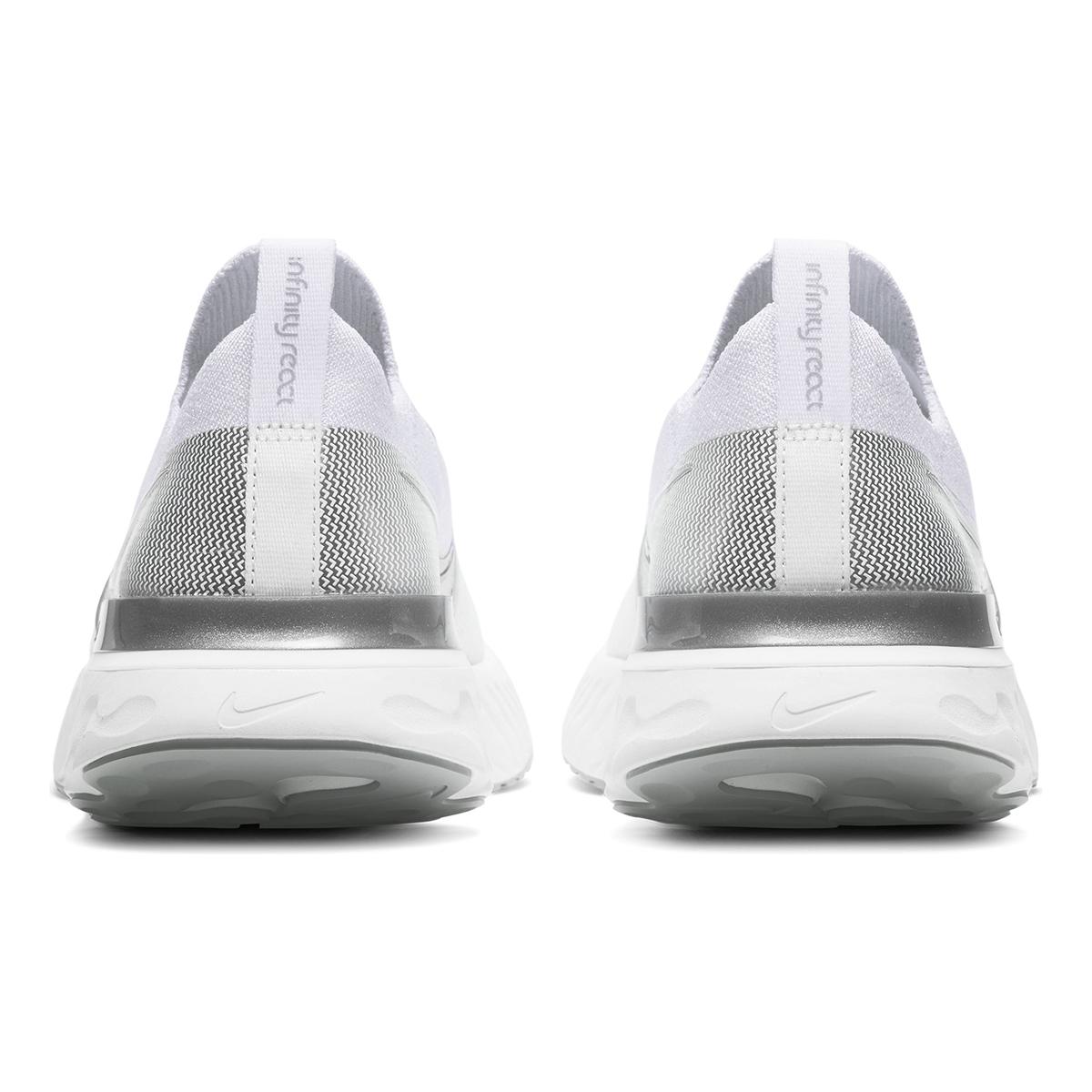 Women's Nike React Infinity Run Flyknit Running Shoe - Color: True White/White/Pure Platinum/Metallic Silver (Regular Width) - Size: 5, True White/White/Pure Platinum/Metallic Silver, large, image 3