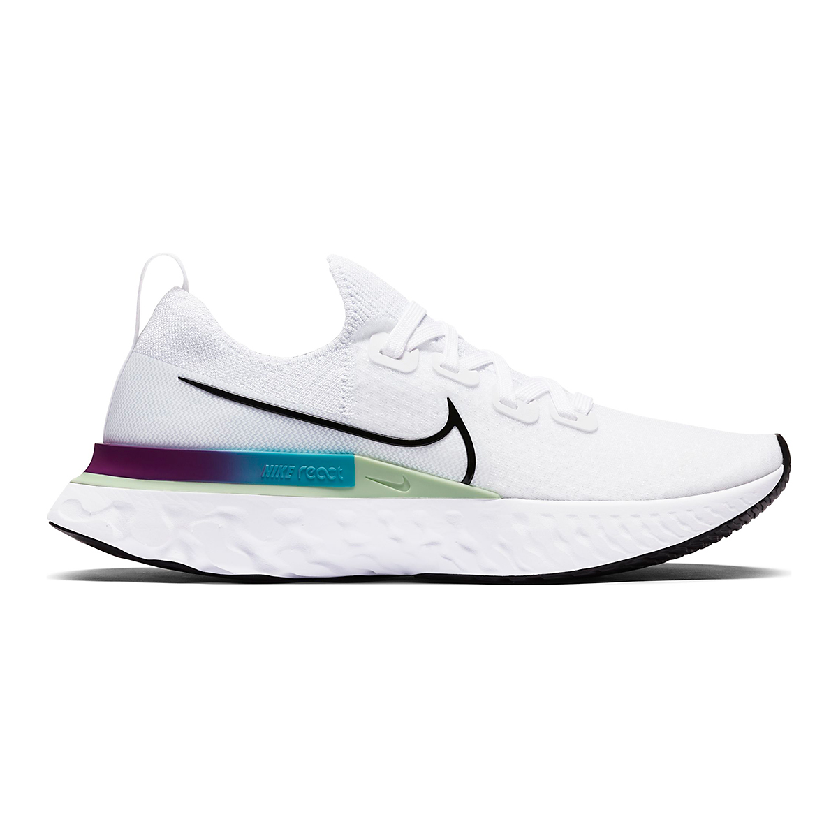 Women's Nike React Infinity Run Flyknit Running Shoe - Color: White/Vapor Green/Oracle Aqua/Black - Size: 5 - Width: Regular, White/Vapor Green/Oracle Aqua/Black, large, image 1
