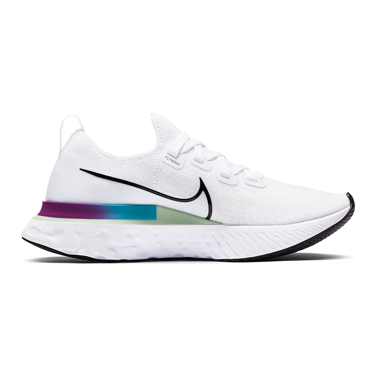 Women's Nike React Infinity Run Flyknit Running Shoes - Color: White/Vapor Green/Oracle Aqua/Black - Size: 5 - Width: Regular, White/Vapor Green/Oracle Aqua/Black, large, image 2