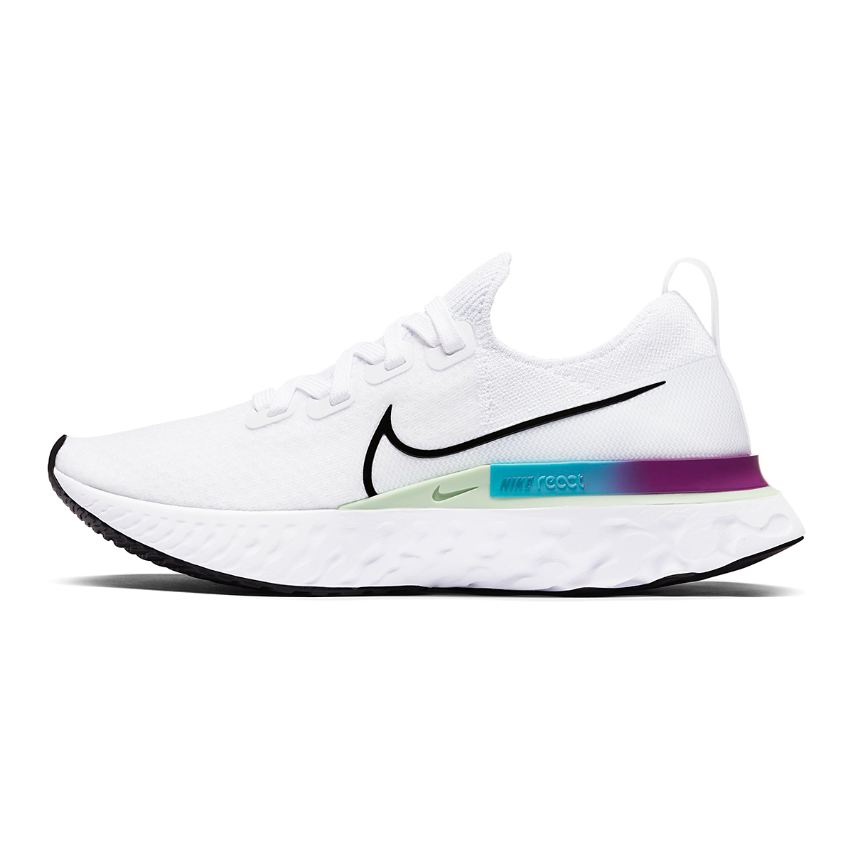Women's Nike React Infinity Run Flyknit Running Shoes - Color: White/Vapor Green/Oracle Aqua/Black - Size: 5 - Width: Regular, White/Vapor Green/Oracle Aqua/Black, large, image 3