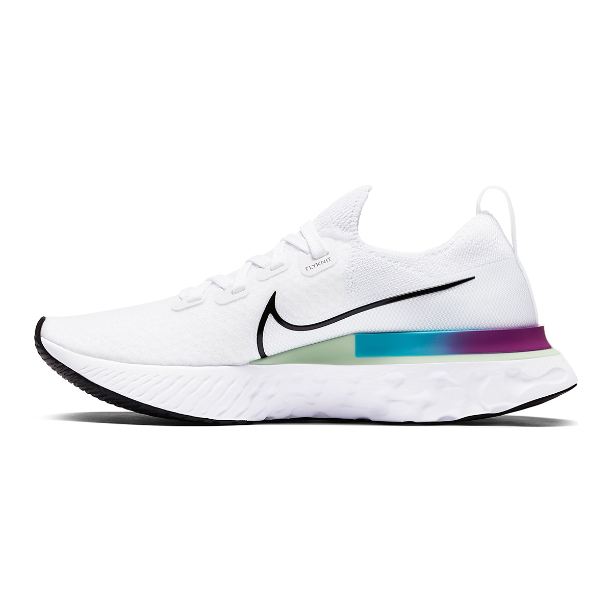 Women's Nike React Infinity Run Flyknit Running Shoes - Color: White/Vapor Green/Oracle Aqua/Black - Size: 5 - Width: Regular, White/Vapor Green/Oracle Aqua/Black, large, image 4