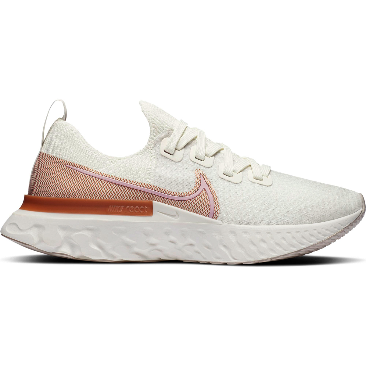 Women's Nike Nike React Infinity Run Flyknit Running Shoe - Color: Sail/Metallic Copper/White/Light Arctic Pink - Size: 5 - Width: Regular, Sail/Metallic Copper/White/Light Arctic Pink, large, image 1